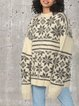 Round neck loose jacquard cashmere padded pullover sweater