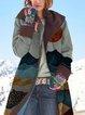 Landscape Print Button Long Sleeve Hooded Coat