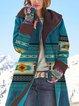 Vintage Printed Long Sleeve Hooded Coat For Women