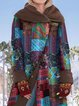 Lapel Ethnic Print Long Sleeve Vintage Coat For Women