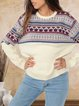 70s contrast color bohemian casual cashmere wool knit top