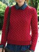 Long Sleeve Casual Crew Neck Jacquard Sweater
