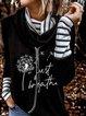 Print Dandelion High Neck Long Sleeves Sweatshirt