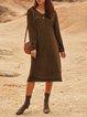 Red Long Sleeve V Neck Cotton-Blend Dresses