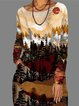 Casual Color Block Round Neckline Knee-Length A-line Dress