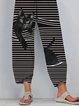 Black Cat Print Striped Patchwork Elastic Waist Plus Size Pants