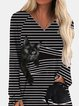 Black Cat Print Striped Patchwork V-neck Blouse
