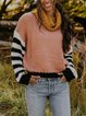 Contrasting pile collar retro casual cashmere long-sleeved wool knit top