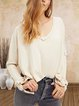 V-neck casual stitching sleeves slits solid color all-match knitted top
