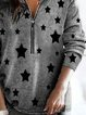 Half-placket printed cashmere sweater thickened warm woolen top