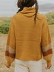 Contrasting color high-neck retro casual cashmere-like long-sleeved woolen top