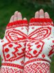 Blooming Butterfly Printed Knitted Open Fingered Gloves