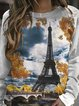 Landscape Print O-neck Long Sleeve Sweatshirt For Women