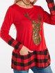 Long Sleeve Cotton-Blend Christmas Snowman Shift Shirts & Tops