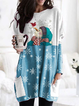 Women's Snowman Snowflake Print Long Sleeves T-shirt