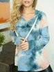 Hooded tie-dye printing casual loose and comfortable long-sleeved sweater