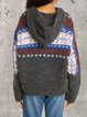 Round neck retro style loose wool woolen casual hooded top