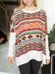 Round neck bohemian loose wool knit casual top