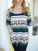 Large round neck stitching jacquard Christmas elk wool wool top