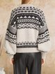 Wool warm bohemian casual small round neck comfortable loose woolen top