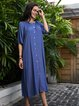 Blue Crew Neck Plain Casual Cotton-Blend Dresses