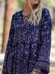 V Neck Vintage Long Sleeve Dresses
