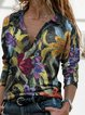 Casual Color-Block Cotton-Blend Shirt Collar Outerwear