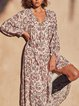 V Neck Lace-Up Casual Long Sleeve Dresses