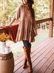 Cotton-Blend Shift Long Sleeve Dresses