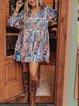 Cotton-Blend Long Sleeve Vintage Dresses