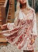 Printed Cotton-Blend Paisley Casual Dresses