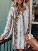 Vintage Long Sleeve V Neck Striped Dresses