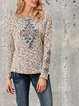 Printed knitted ethnic long-sleeved warm T-shirt