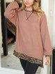 Leopard print stitching loose casual plus round neck sweater