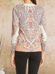 Casual retro printing comfortable long-sleeved base knitted top