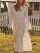 Solid Long Sleeve Cotton-Blend Crew Neck Dresses