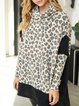 Leopard print loose stitching casual high neck autumn and winter knitted top