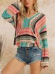 V-neck contrast color fashion casual wool knit top