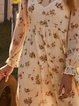 Casual Cotton-Blend Long Sleeve Floral Dresses