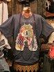 Letter Short Sleeve Vintage Shirts & Tops
