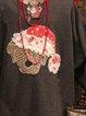 Crew Neck Long Sleeve Animal Shift Sweatshirt