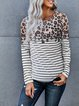 Leopard print striped knitted fit comfortable round neck knitted T-shirt top