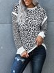 Round neck leopard print knitted loose long sleeve comfortable T-shirt