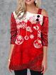 Snowflake Print Cold Shoulder Sequin Sleeve T-shirt