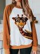 Casual Long Sleeve Shift Animal Sweatshirt
