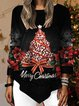 Christmas Snowman Casual Shift 3/4 Sleeve Shirts & Tops
