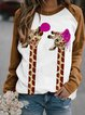 Long Sleeve Shift Animal Cotton-Blend Sweatshirt