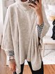 High Neckline Solid Casual Loose Regular Shift Sweaters