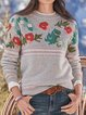Crew Neck Floral Long Sleeve Sweater