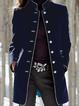 Long Sleeve Stand Collar Buttons Pockets Coats Jackets